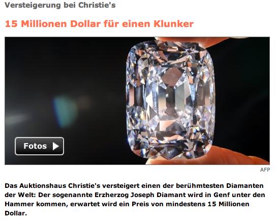 """SpOn versteigert den """"Erzherzog Joseph Diamant"""""""