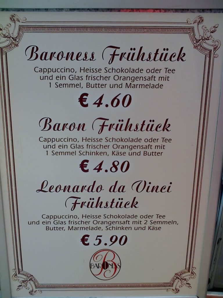 Baroness Frühstück und Baron Frühstück