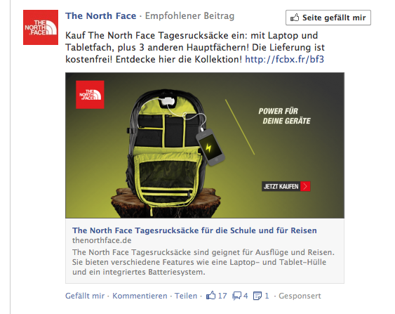 The North Face: Tagesrucksack mit Laptop und Tabletfach