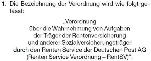 Renten Service Verordnung (Rentenserviceverordnung)